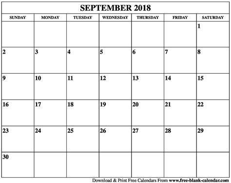 Galerry blank printable calendar september and october 2018