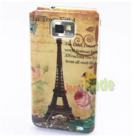 R Feel Eiffel Samsung Galaxy S5360 eiffel tower flower design type back cover for samsung galaxy s2 i9100 phone