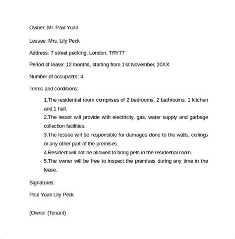 Letter Of Agreement To Rent A Room sle rental agreement letter template 8 free