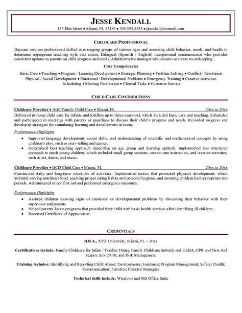 Child Care Resume Templates by Resume For Child Care Background Finding Work Careers