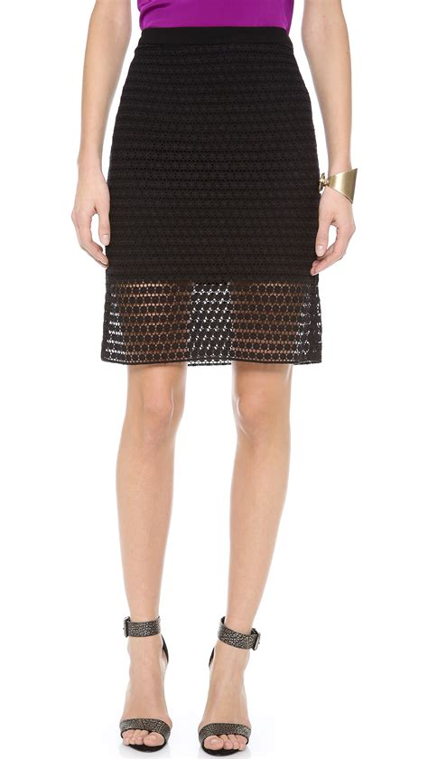 tibi lace pencil skirt in black lyst
