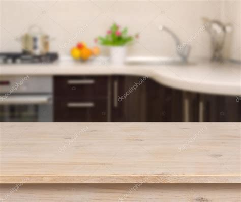 Kitchen Counter Background Breakfast Table On Kitchen Interior Background Stock