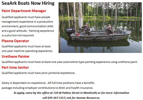 seaark boats monticello ar jobs seaark boats job opportunities monticello live