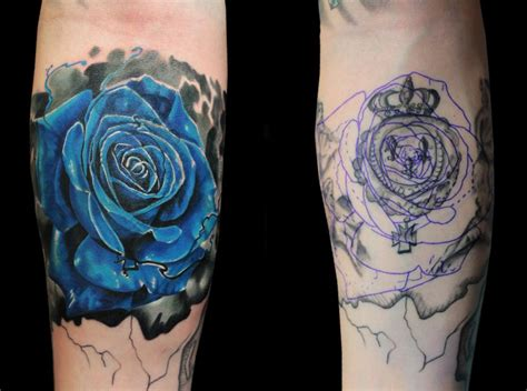 black and blue rose tattoo blue cover up by jhon gutti tattoonow