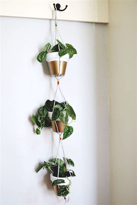 diy hanging plant pot gold dipped hanging planters a beautiful mess