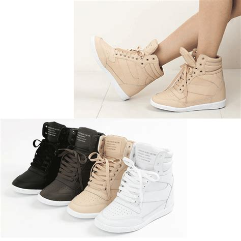 fashion high heel epic7snob womens shoes korea high top wedges heel lace up