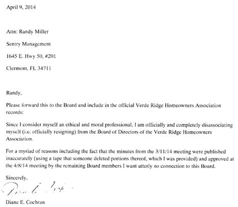 Resignation Letter To Board Of Homeowner Association Verde Ridge Spot March Resignation Of President Of The Board