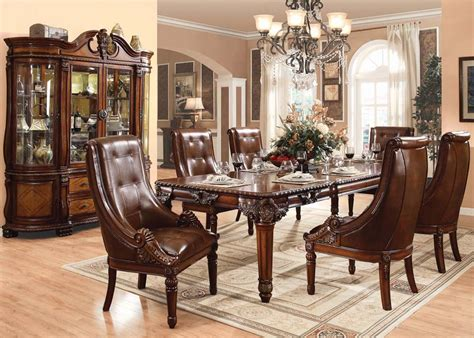 acme winfred 7pc rectangular dining room set in cherry by