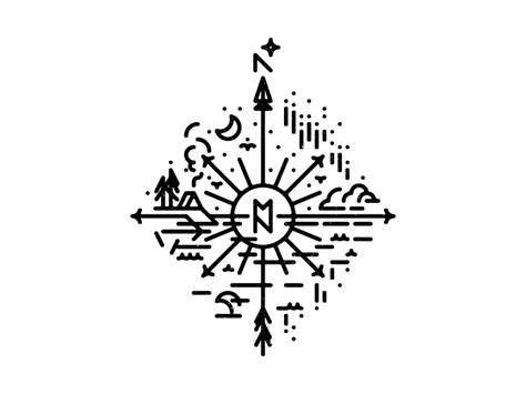 wip mn compass tattoo by joshua gille dribbble