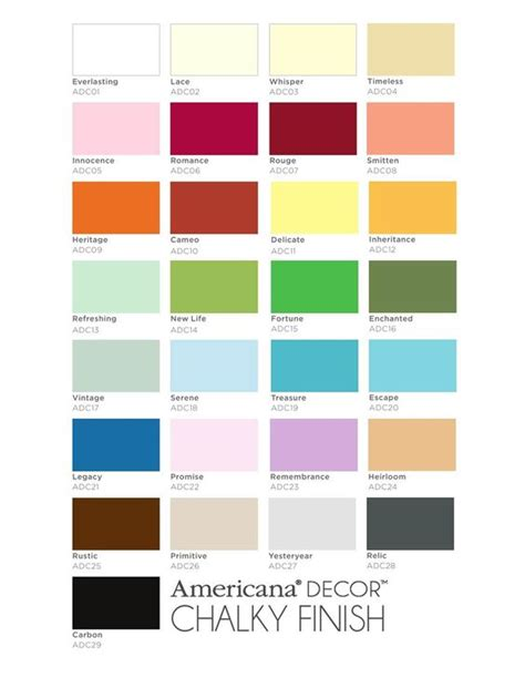 americana chalk paint colors paleta kolorow americana decor chalky finish paint
