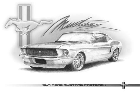 Mustang Auto Zeichnen by 1967 Ford Mustang Fastback Pencil Drawing T Shirts