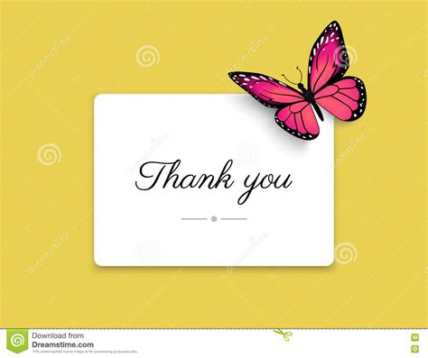 butterfly thank you card template thank you blank card with beautiful butterfly on