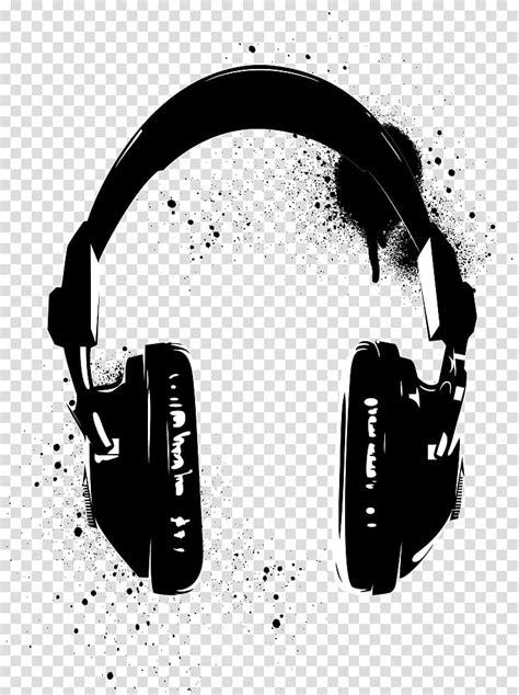 Preto e branco de fones de ouvido sem fio, Stencil