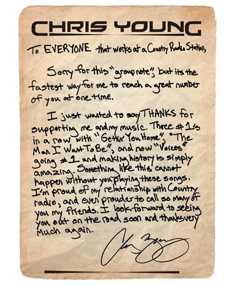 Thank You Letter For Radio Country Photos That Rock Chris Young S Thank You Letter To Country Radio Country