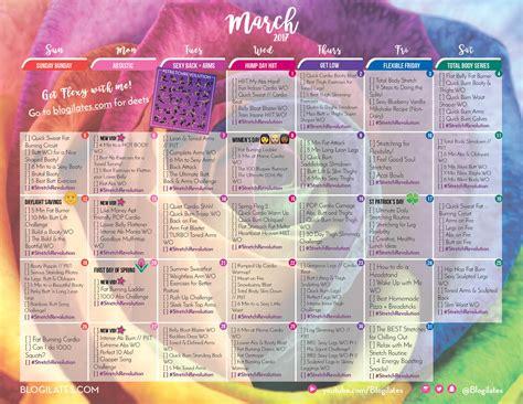 Blogilates Calendar March 2017 Workout Calendar