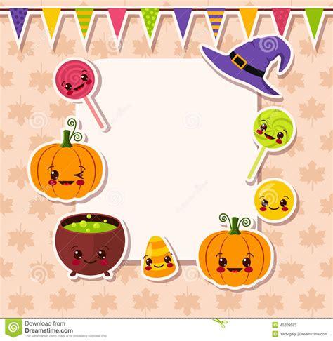 imagenes de halloween kawaii kawaii halloween symbols with frame stock vector image