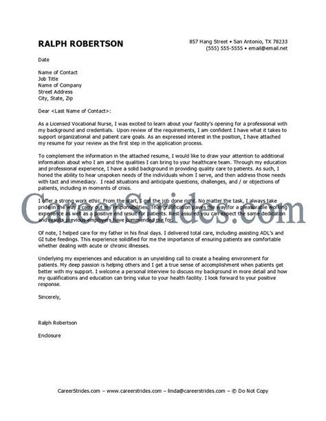 cover letter exles for nurses cover letter sle exle