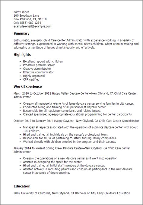 daycare resume template 1 child care center administrator resume templates try