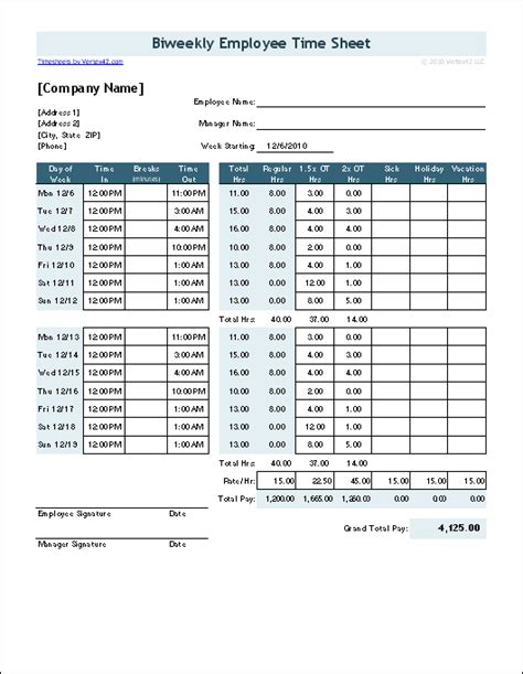Time Sheet Template For Excel Timesheet Calculator Overtime Schedule Template