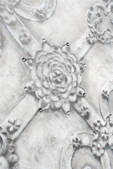 grey wallpaper with crystals iron scroll wallpaper collection fabric wallpaper