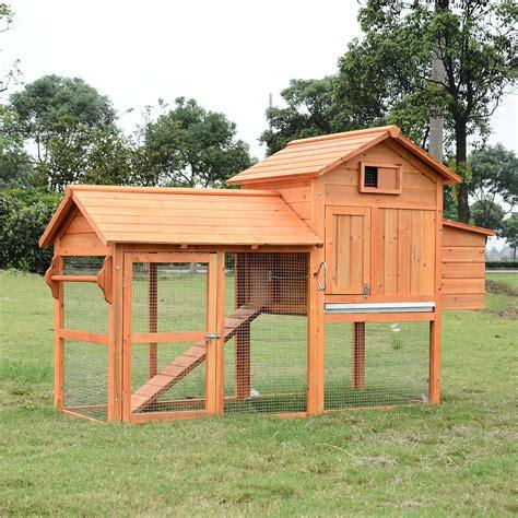pawhut deluxe wood chicken coop nesting box backyard