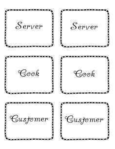 printable menu tags 1000 images about dramatic play restaurant printable