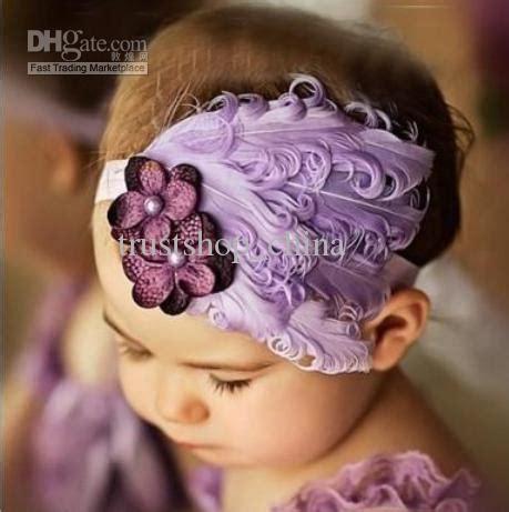 baby infant headband bow peacock feather fascinator headband flower hair accessories purple