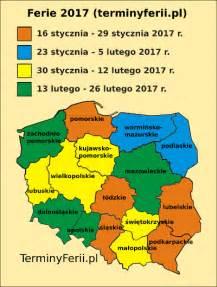 Terminy Ferii Zimowych 2018 Mapa Wojew 243 Dztw Ferie 2017 Terminy Ferii Zimowych W