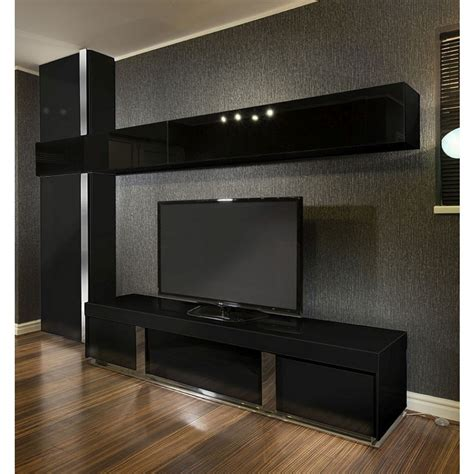 Large TV Stand Wall Mounted Storage Cabinet Black Glass Black Gloss Quatropi
