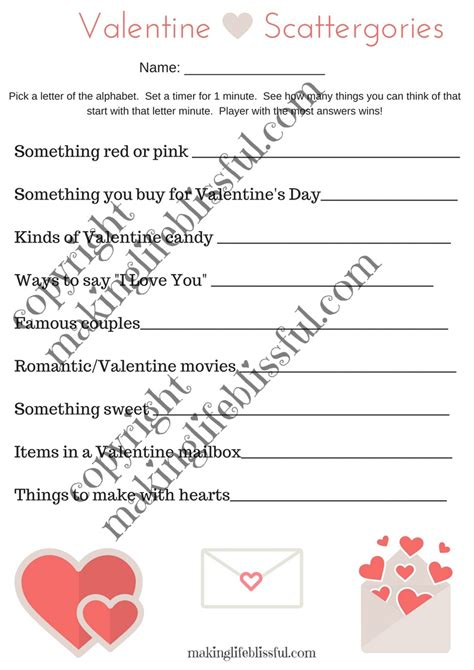 printable scattergories dice valentine scattergories printable making life blissful