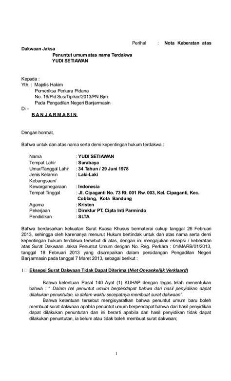 format laporan narkotika contoh jawaban surat dakwaan korupsi