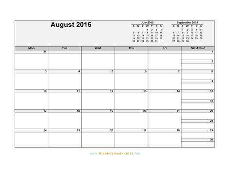 2015 blank calendar templates august 2015 blank calendar printable template word excel