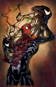 spiderman vs venom digital art fribly