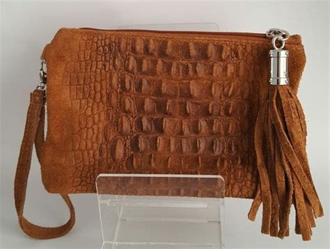 Croco Clutch Series bol giuliano leren croco clutch met franje en