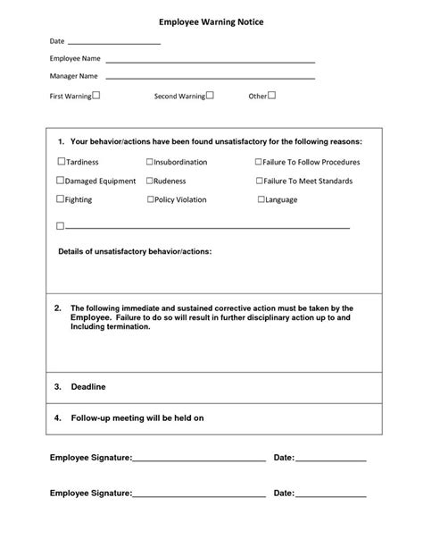 Employee Warning Notice Employee Forms Pinterest Employee Disciplinary Form Template Free