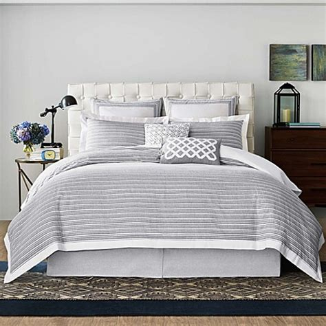 real simple bedding real simple 174 soleil duvet cover in grey bed bath beyond