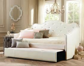 Girls Bookcase Upholstered Daybed With Tufted Detail Homesfeed