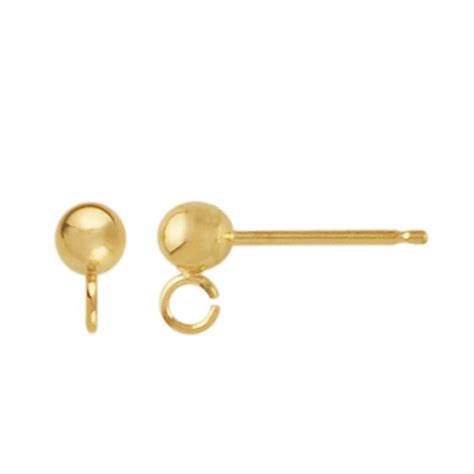 earring posts for jewelry 14k yellow gold post earring with open ring