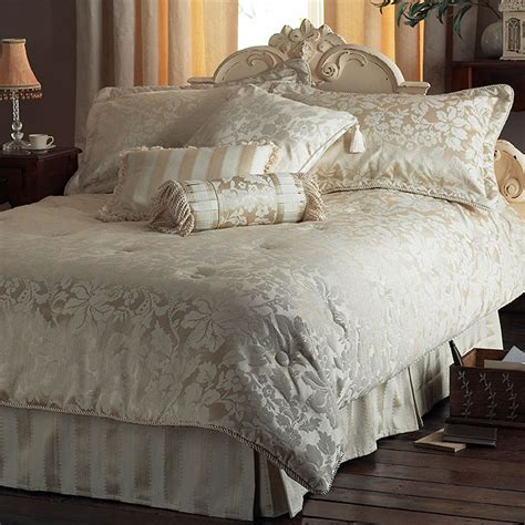 cream bedding set cologne chenille jacquard 7 piece comforter bedspread set