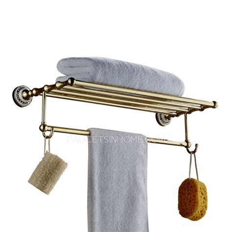 Bathroom Shelves With Hooks On Sale Brass Wall Mounted Bathroom Metal Shelves With Hooks