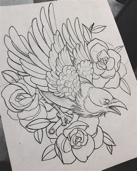 tattoo tatuaggio cheyenne pen crow corvo rosa rose 38 best traditional crow tattoo drawing images on