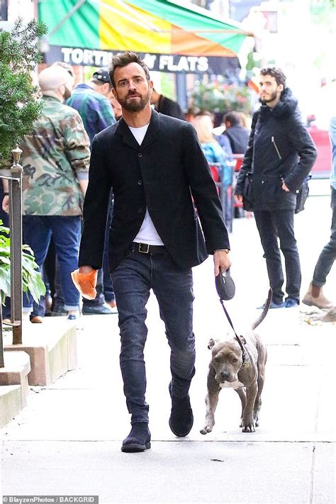 justin theroux dog justin theroux looks downcast while walking his dog in new