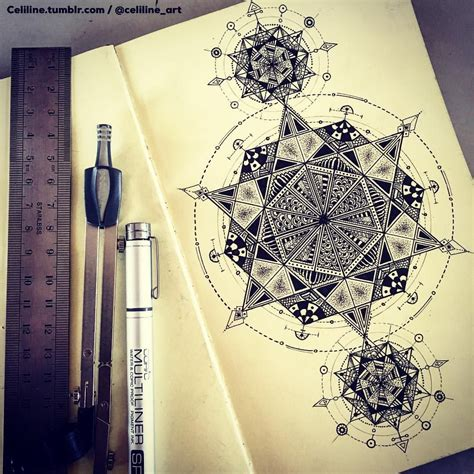 geometric zentangle tattoo sacred geometry zentangle doodle artwork drawing