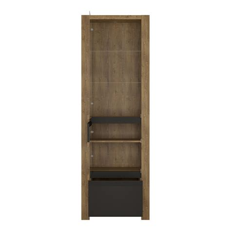 Cabinet Door Display 1 Door 1 Drawer Display Cabinet In Lefkas Oak With Matt Black Fronts