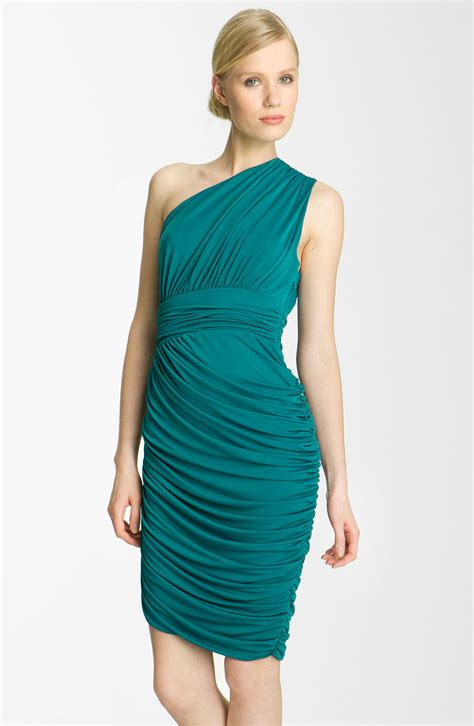 drape dress with one shoulder halston heritage one shoulder drape jersey dress in blue