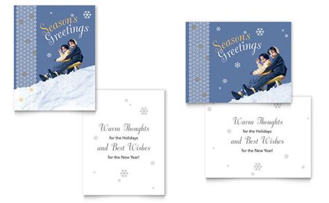 Half Fold Greeting Card Templates For Corel Wordperfect by Children Sledding Greeting Card Template Design