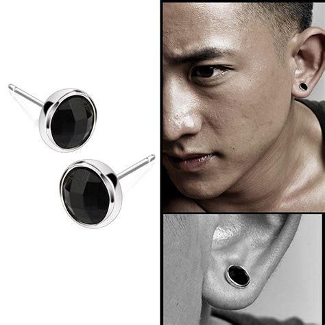 1pair fashion mens black agate silver ear studs