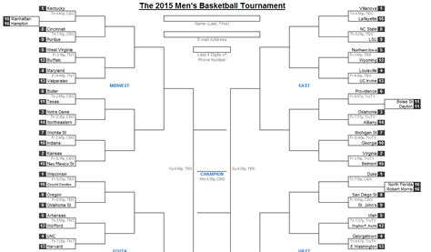 2015 March Madness Bracket Excel Excel Bracket Template