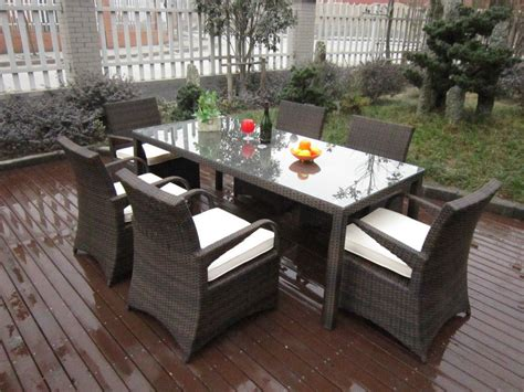 Rattan Patio Dining Set with Rattan Garden Dining Sets Washable Resin Wicker Patio Furniture
