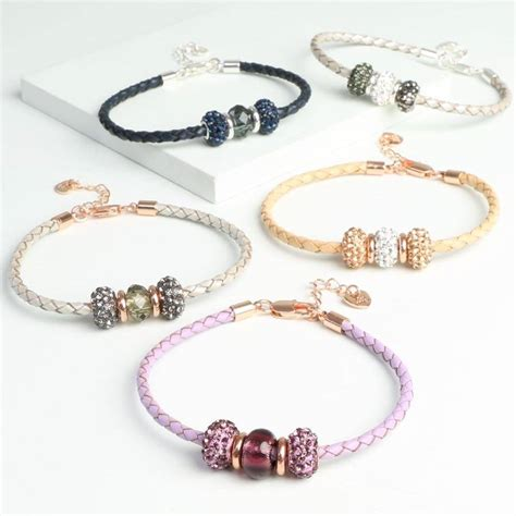 leather and bead bracelet sparkly gem bead and braided leather bracelet by